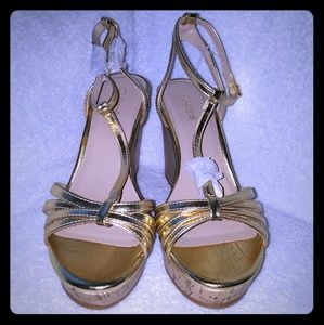 492bc6f58f Jaclyn Smith Shoes - Jaclyn Smith Gold Cork Wedge Sandal
